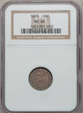 Seated Dimes, 1872 10C MS62 NGC. R-4. NGC Census: (7/44). PCGS Population(12/30). Mintage: 2,396,450. Numismedia Wsl. Price for problem ...