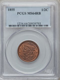 Half Cents: , 1855 1/2 C MS64 Red and Brown PCGS. PCGS Population (142/20). NGCCensus: (76/56). Mintage: 56,500. Numismedia Wsl. Price f...