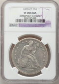 Seated Dollars, 1870-CC $1 -- Improperly Cleaned -- NGC Details. VF. NGC Census:(6/150). PCGS Population (19/314). Mintage: 12,462. Numism...