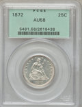 Seated Quarters: , 1872 25C AU58 PCGS. PCGS Population (4/18). NGC Census: (4/24).Mintage: 182,000. Numismedia Wsl. Price for problem free NG...