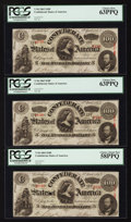 Confederate Notes:1863 Issues, T56 $100 1863 PF-1 Cr. 403, PF-2 Cr. 404 (2). ... (Total: 3 notes)