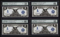 Large Size:Silver Certificates, Four Consecutive Fr. 236 $1 1899 Mule Silver Certificates PMGChoice About Unc 58 EPQ, Gem Uncirculated 65 EPQ, and (2) Gem Un...(Total: 4 notes)