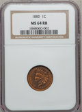 Indian Cents: , 1880 1C MS64 Red and Brown NGC. NGC Census: (344/194). PCGSPopulation (243/53). Mintage: 38,964,956. Numismedia Wsl. Price...