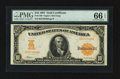Large Size:Gold Certificates, Fr. 1169 $10 1907 Gold Certificate PMG Gem Uncirculated 66 EPQ.....