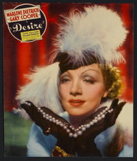 "Desire (Paramount, 1936). Jumbo Lobby Card (11.75"" X 14.5""). Marlene Dietrich stars as a seductive jewel thief..."