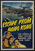 "Movie Posters:Adventure, Escape from Hong Kong (Universal, 1942). One Sheet (27"" X 41"").Adventure. Starring Leo Carrillo, Andy Devine, Marjorie Lord..."