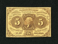 Fractional Currency:First Issue, Fr. 1230 5c First Issue About New. A fold is found near the right-hand edge. This note was once mounted with a stamp hinge, ...