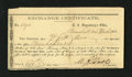 Confederate Notes:Group Lots, Marshall, TX- Confederate Exchange Certificate $900 Dec. 24, 1864. This 3 by 6 inch partly printed form was for the exchange...