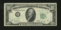 Error Notes:Obstruction Errors, Fr. 2010-K $10 1950 Narrow Federal Reserve Note. Very Fine.. Theobstruction interfered with the printing of the last three ...