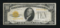 Small Size:Gold Certificates, Fr. 2400 $10 1928 Gold Certificate. About Very Fine.. A broadly margined and colorful example of this popular gold certifica...