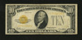 Small Size:Gold Certificates, Fr. 2400 $10 1928 Gold Certificate. Very Good.. This is a nice note for the grade with a few edge tears at top center....