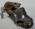 Bronze:European, AN AUSTRIAN COLD-PAINTED BRONZE FIGURAL INKWELL WITH BRUSH . Circa1900 . 6-1/4 inches long (15.9 cm). ...