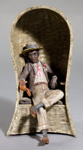 Paintings, AN AUSTRIAN COLD-PAINTED BRONZE FIGURE: MAN IN WICKER CHAIR . 20th century . Marks: 1. 6-1/4 inches high (15.9 c...