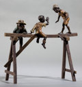 Bronze:European, AN AUSTRIAN COLD-PAINTED BRONZE FIGURAL GROUP: BOYS ON ABEAM . 20th century . 7 inches high (17.8 cm). ...