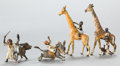 Paintings, FOUR AUSTRIAN COLD-PAINTED BRONZE FIGURES: BOYS WITH DONKEYS AND GIRAFFES . Circa 1900. 4 inches high (10.2 cm) (tal... (Total: 4 Items)