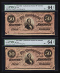 Confederate Notes:1864 Issues, Consecutive Pair: T66 $50 1864 PF-1 Cr. 495.. ... (Total: 2 items)