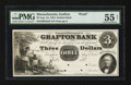 Obsoletes By State:Massachusetts, Grafton, MA- The Grafton Bank $3 Aug. 1, 1854 UNL Proof. ...