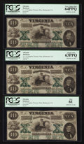 Obsoletes By State:Virginia, Richmond, VA- Virginia Treasury Note $10 Oct. 15, 1862 Cr. 11. ... (Total: 3 notes)