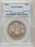 Barber Half Dollars: , 1911 50C MS64 PCGS. PCGS Population (95/50). NGC Census: (57/28).Mintage: 1,406,543. Numismedia Wsl. Price for problem fre...