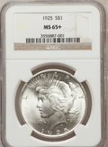 Peace Dollars, 1925 $1 MS65+ NGC. NGC Census: (9444/1653). PCGS Population(6735/1528). Mintage: 10,198,000. Numismedia Wsl. Price for pro...