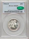 Barber Quarters: , 1916-D 25C MS65 PCGS. CAC. PCGS Population (314/105). NGC Census:(168/55). Mintage: 6,540,800. Numismedia Wsl. Price for p...