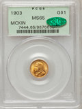 Commemorative Gold: , 1903 G$1 Louisiana Purchase/McKinley MS65 PCGS. CAC. PCGSPopulation (538/513). NGC Census: (385/468). Mintage: 17,500.Num...