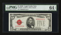 Small Size:Legal Tender Notes, Fr. 1530* $5 1928E Legal Tender Note. PMG Choice Uncirculated 64 EPQ.. ...