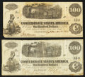 Confederate Notes:1862 Issues, T40 $100 1862 Two Examples.. ... (Total: 2 notes)