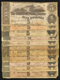 Confederate Notes:1864 Issues, T69 $5 1864 Ten Examples. T53 $5 1862.. ... (Total: 11 notes)