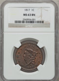 Large Cents, 1817 1C 13 Stars MS63 Brown NGC. N-11, R.1....