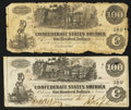 Confederate Notes:1862 Issues, T39 $100 1862 Two Examples.. ... (Total: 2 notes)