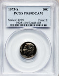 Proof Roosevelt Dimes: , 1973-S 10C PR69 Deep Cameo PCGS. PCGS Population (2072/8). NGCCensus: (18/0). Numismedia Wsl. Price for problem free NGC/...