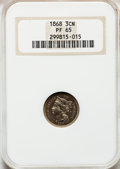 Proof Three Cent Nickels, 1868 3CN PR65 NGC....