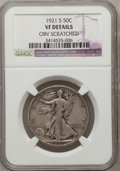Walking Liberty Half Dollars: , 1921-S 50C -- Obverse Scratched -- NGC Details. VF. NGC Census:(64/272). PCGS Population (85/356). Mintage: 548,000. Numis...