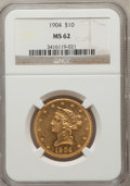 Liberty Eagles: , 1904 $10 MS62 NGC. NGC Census: (342/142). PCGS Population(308/200). Mintage: 161,900. Numismedia Wsl. Price for problemfr...