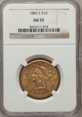Liberty Eagles: , 1883-S $10 AU55 NGC. NGC Census: (10/100). PCGS Population (20/63).Mintage: 38,000. Numismedia Wsl. Price for problem free...