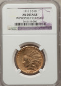 Indian Eagles, 1911-S $10 --Improperly Cleaned--NGC Details. AU. NGC Census:(13/243). PCGS Population (22/249). Mintage: 51,000. Numismedi...
