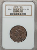Large Cents, 1819 1C Small Date MS64 Brown NGC. N-8, R.1....