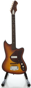 Musical Instruments:Electric Guitars, 1960's Airline Bobkat Sunburst Solid Body Electric Guitar...