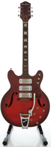 Musical Instruments:Electric Guitars, 1960's Airline H 72 Redburst Semi-Hollow Body Electric Guitar...