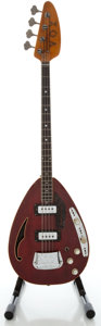 Musical Instruments:Bass Guitars, 1960's Vox Constellation IV Wine Red Electric Bass Guitar, Serial #382364....