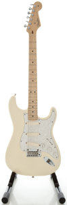 Musical Instruments:Electric Guitars, 2005 Fender Stratocaster USA Olympic White Solid Body ElectricGuitar, Serial #Z5039829....