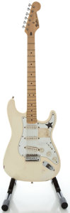 Musical Instruments:Electric Guitars, 1996 Fender Stratocaster MIM White Solid Body Electric Guitar,Serial #MN6129275....