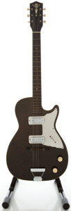 Musical Instruments:Electric Guitars, 1960's Harmony Alden Stratotone Black Solid Body Electric Guitar...