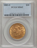 Liberty Eagles: , 1883-S $10 MS62 PCGS. PCGS Population (16/6). NGC Census: (22/3).Mintage: 38,000. Numismedia Wsl. Price for problem free N...