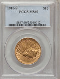 Indian Eagles: , 1910-S $10 MS60 PCGS. PCGS Population (23/528). NGC Census:(54/376). Mintage: 811,000. Numismedia Wsl. Price for problem f...