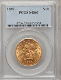Liberty Eagles: , 1885 $10 MS63 PCGS. PCGS Population (42/13). NGC Census: (29/11).Mintage: 253,400. Numismedia Wsl. Price for problem free ...