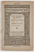 Books:Americana & American History, Benjamin Franklin. Poor Richard's Almanac and Other Papers.New York: Houghton, Mifflin, [1886]. Riverside Press edi...