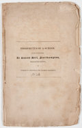 Books:Americana & American History, Joseph G. Cogswell and George Bancroft. Prospectus of a Schoolto be Established at Round Hill, Northampton, Massachuset...