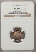 Barber Dimes, 1909-S 10C MS64+ NGC....